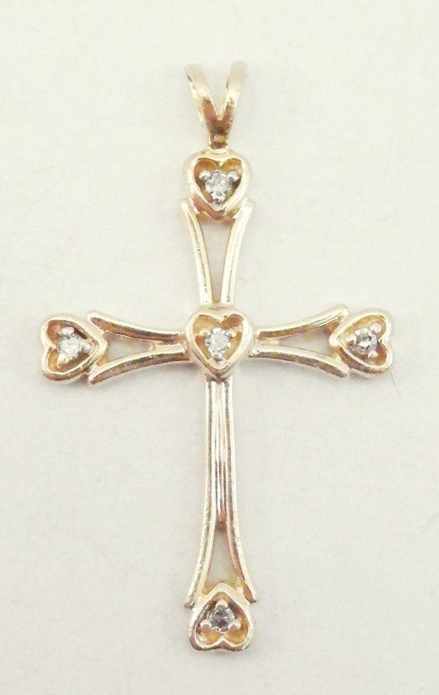 14k solid gold cross pendant unique details