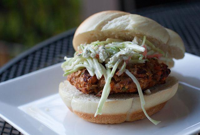 Buffalo Turkey Burgers With Blue Cheese Broccoli Slaw Recipe ...