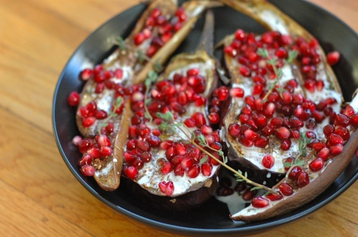 eggplant with buttermilk sauce and pomegranates / delightfulcrumb.com