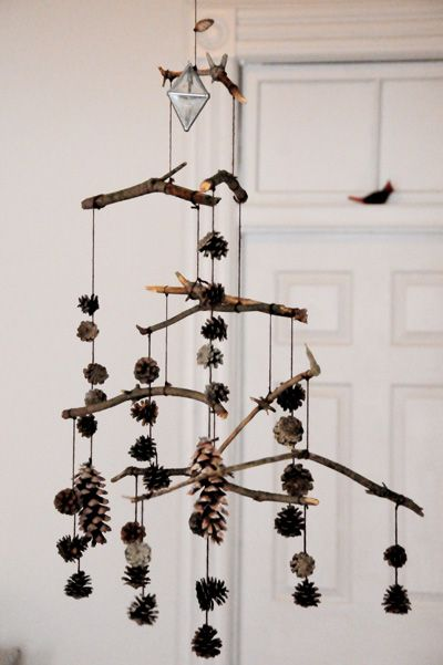 pine cone and branch mobile  crafts  Pinterest