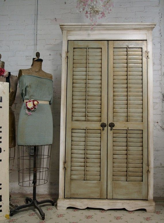Vintage Painted Cottage Chic Shabby Farmhouse Shutter Cabinet BC109