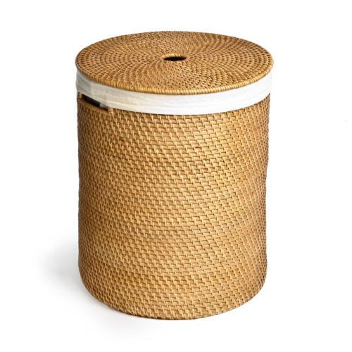 New seville classics hand woven rattan hamper laundry basket wicker - Rattan laundry hamper ...