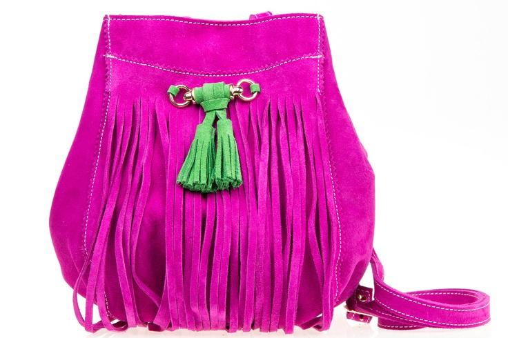 Bolso bombonera flecos fucsia // Pink bag