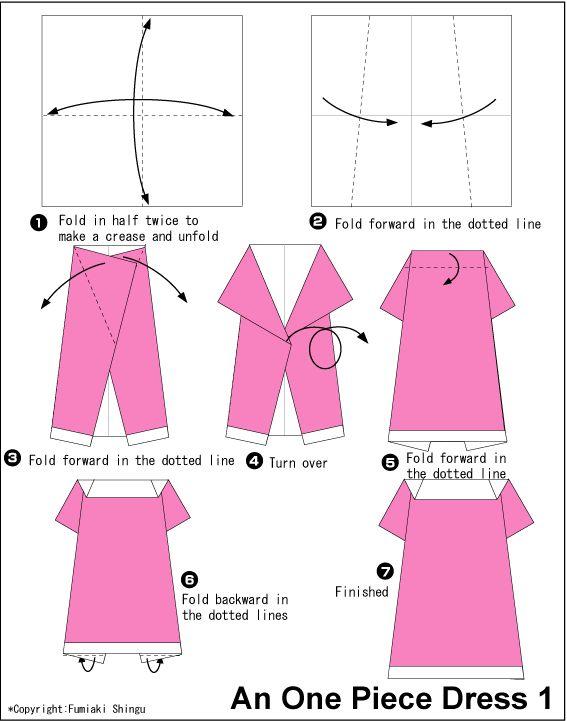Платье из бумаги оригами схема