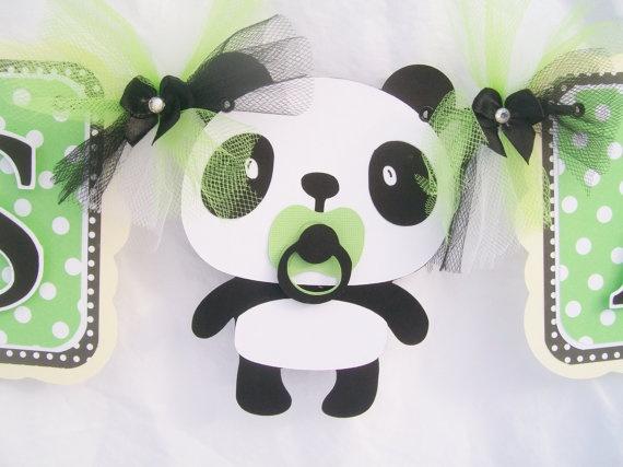 panda bear baby shower banner its a boy banner green ivory black