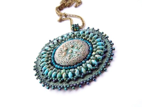 Indian Ocean  Bead Embroidery Pendant