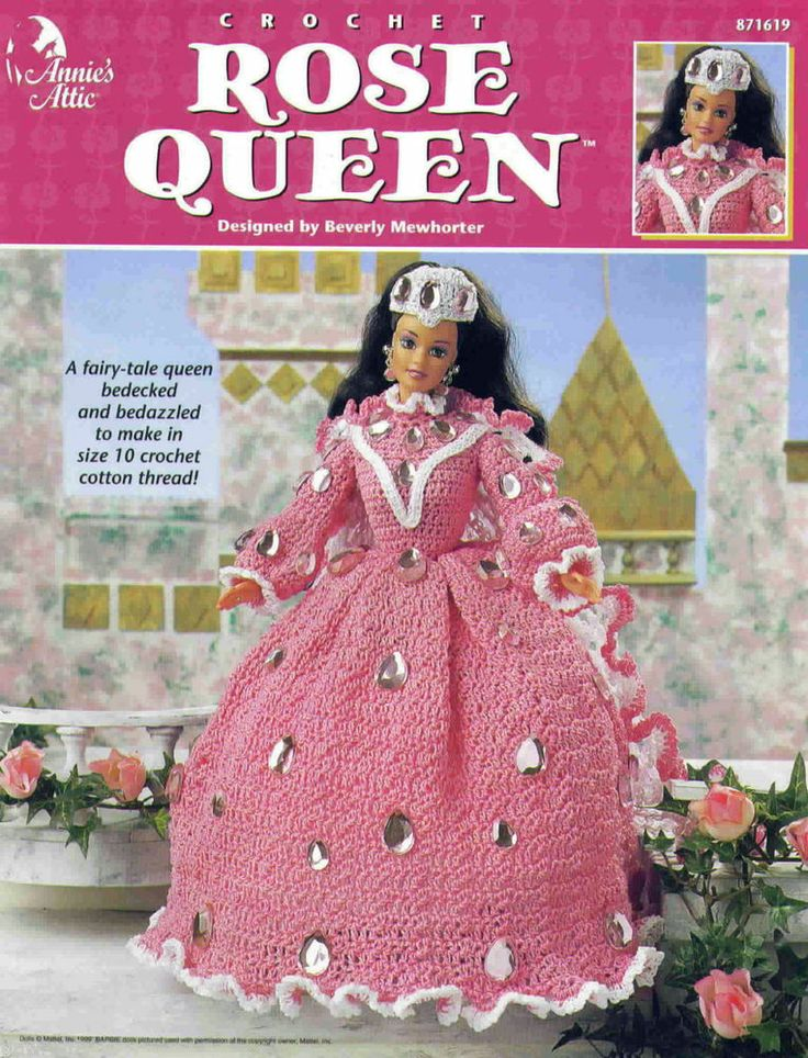 Annies Attic Patterns : Annies Attic Rose Queen Fashion Doll Outfit Crochet Pattern Bo...