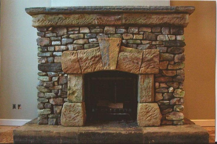 Stone fireplace facade  stove and hearth  Pinterest