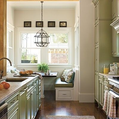 galley kitchen with booth.. by mitzi  Rocksprings reno ideas  Pinte ...
