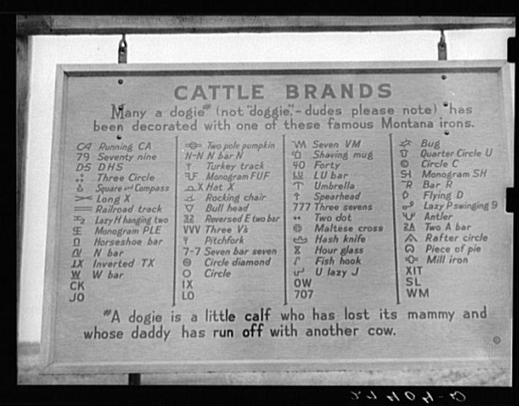 F Cattle Brand Cattle Brands, MT, 193...