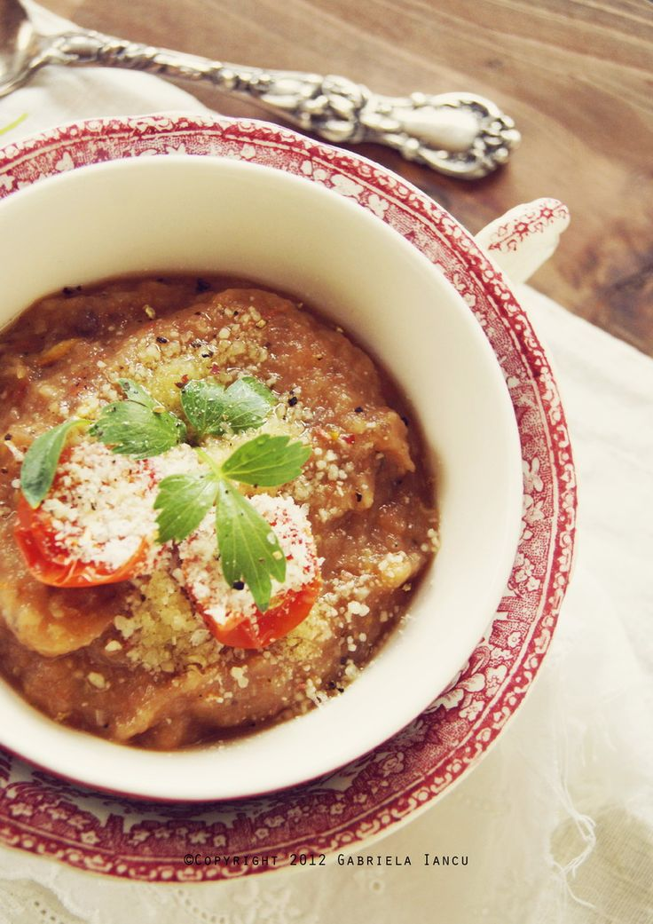 Roasted garlic, eggplants, summer squash and tomatoes creamy soup
