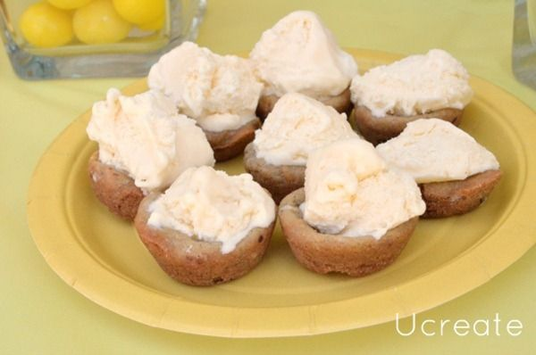 ice cream cookie bowls-cookies baked in mini muffin pan