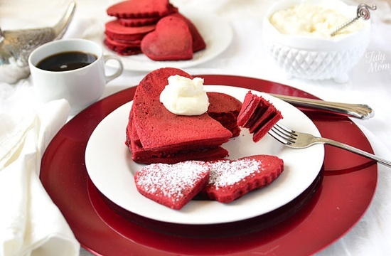 Red Velvet Pancakes with Sweet Cream Cheese Topping | Recipe