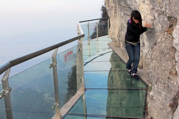 The Walk Of Faith is a glass walkway built off the side of a cliff 1,430 meters in the air. This 60 meter long walk is not meant for the faint of heart. :P