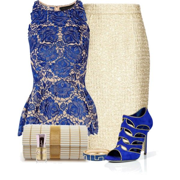 Royal Blue & Golden, created by ana-angela on Polyvore
