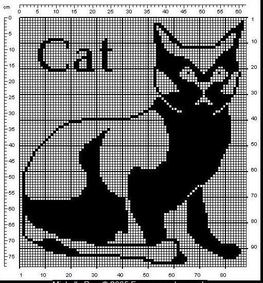 Кошки в филейном вязании