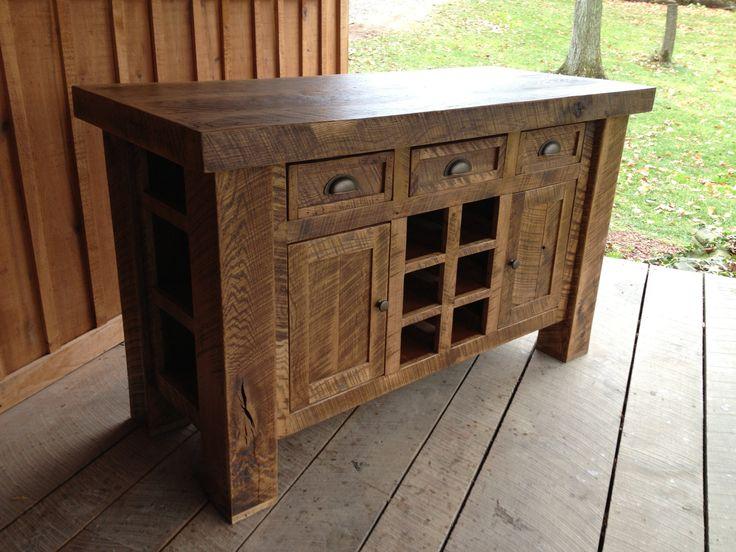 aged oak kitchen island with wine rack