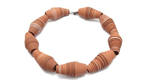 Peter Hoogeboom  Necklace: Westland  Terracotta, silver, nylon