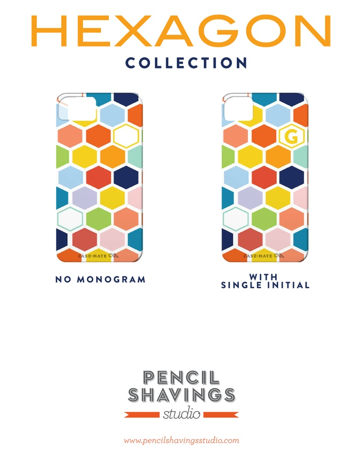 Hexagon Collection for iPhone 4. Coming soon for iPad as well. Get with or without monogram.   www.pencilshavingsstudio.com