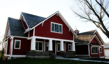 Red Exterior Shed Roof Gable Brackets Homes Ideas