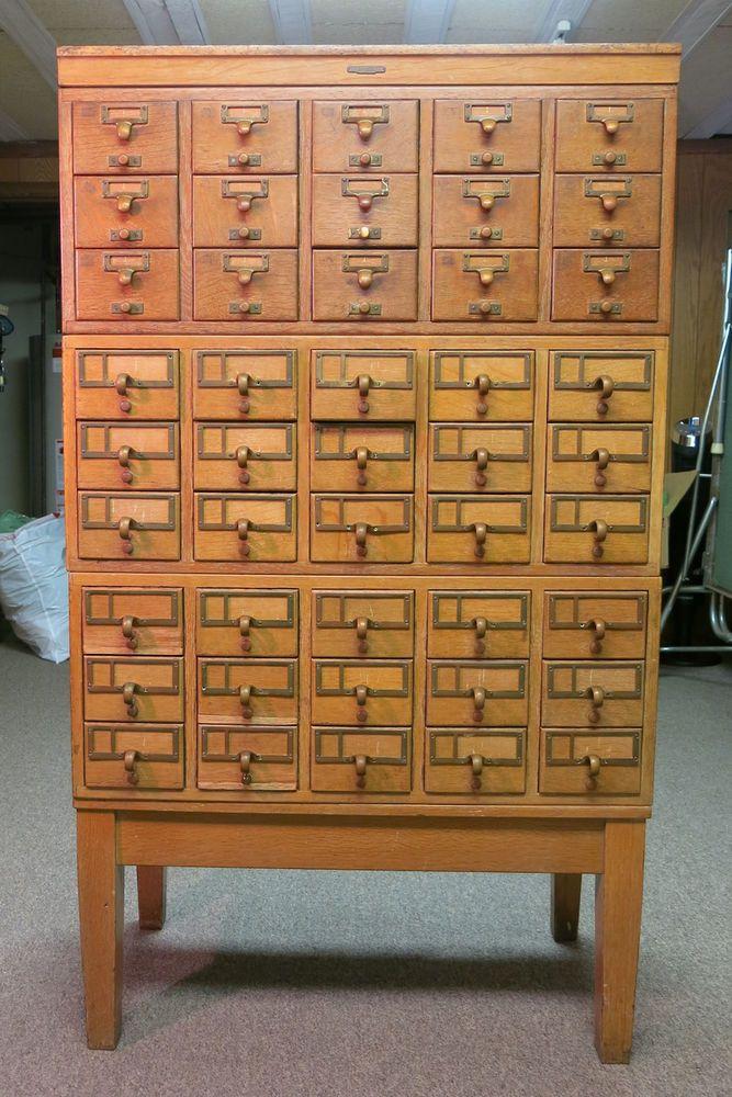 Vintage 45 Drawer Oak Library Card Catalog Cabinet Remington Rand