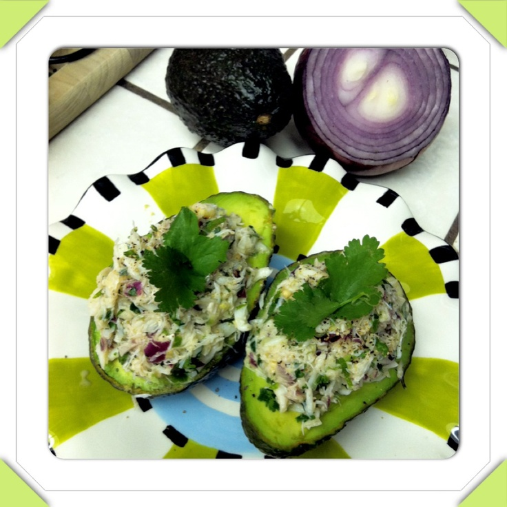 Cilantro lime crab salad on avocado halves...I omitted mayonnaise(less ...