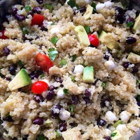 And What I Ate: Quinoa with Black Beans, Avocado, Tomatoes, Scallions ...