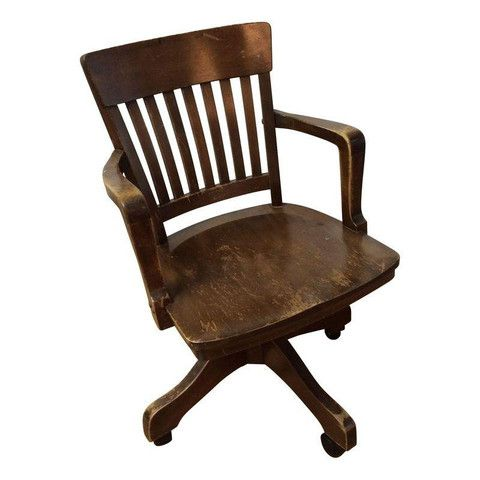 Vintage Wooden Office Chair Study Pinterest