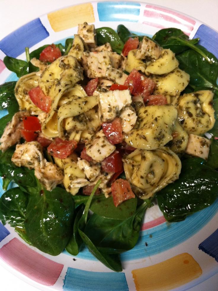 Tortellini Spinach Salad - cook chicken & let cool. cook tortellini ...