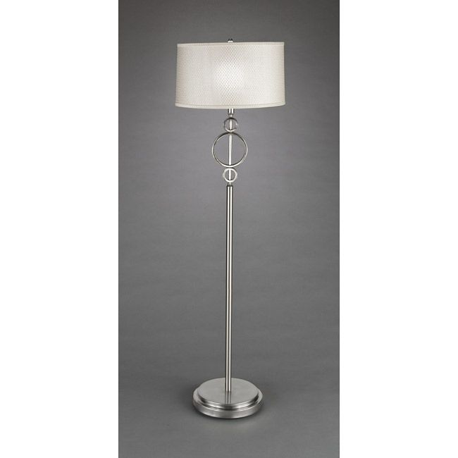 Modern Floor Lamps Overstock : Contemporary light brushed nickel white floor lamp