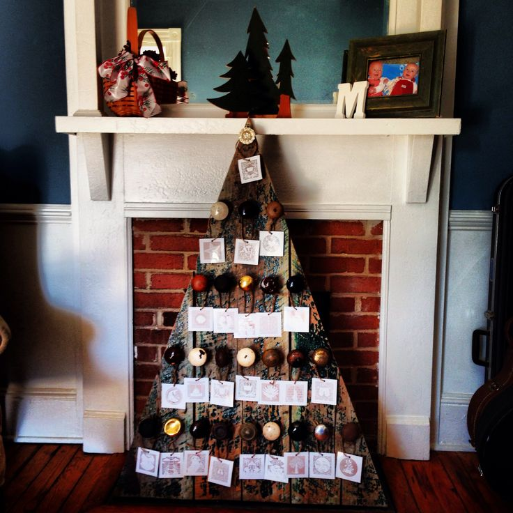 christmas countdown and tree advent calendar created with salvaged