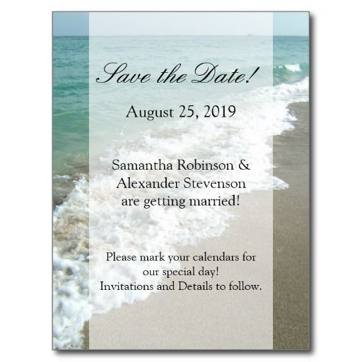 scenic beach destination wedding save the date postcards