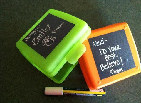 This is such a great idea for kid's lunch boxes for #back to school! Plan ahead and order some #Uppercase Living chalk or dry erase #vinyl! http://www.WhenWallsTalk.com