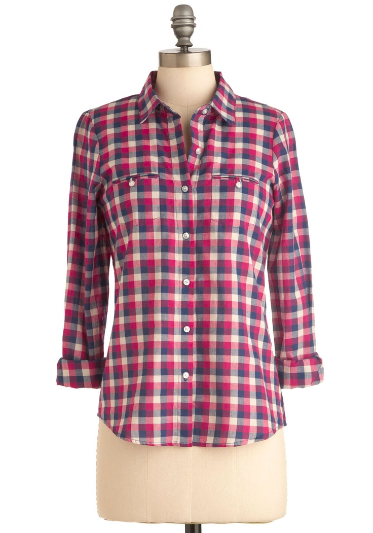 Homeward Bound Top in Fuchsia - Mid-length, Multi, Pink, Checkered / Gingham, Casual, Long Sleeve, Blue, White, Buttons, Pockets, Menswear Inspired -#styleicon and #modcloth