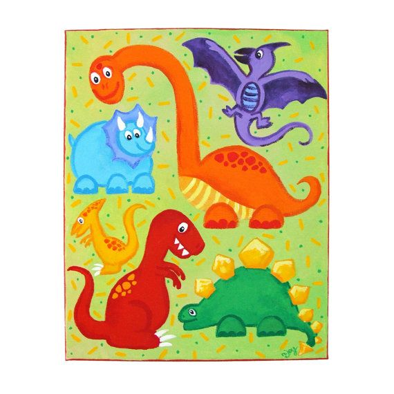 Kids wall art dinosaur jumble 11x14 canvas colorful for Dinosaur pictures for kids room