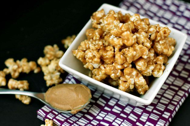 ... snack homemade sweet and salty peanut butter, sea salt, agave popcorn