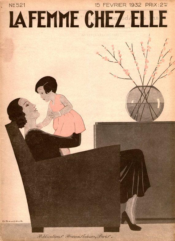 1930s French women's magazine La Femme Chez Elle  -  frameworthy vintage from VioletsEmporium