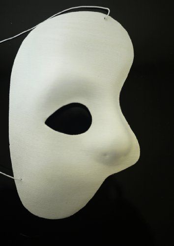Barber Face Mask : Venetian Half Face Party Wear Phantom Mask in White Finish by H-M SHOP ...