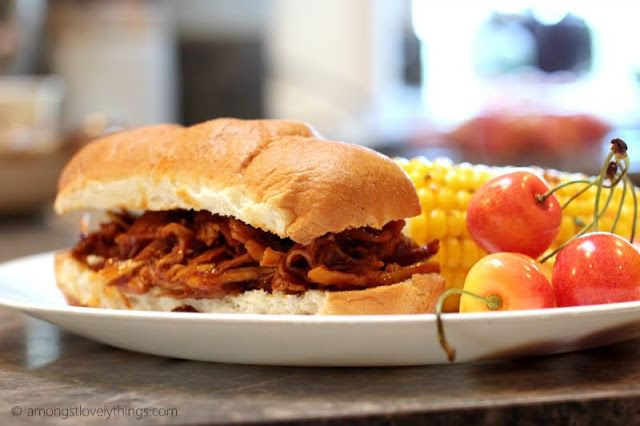 Zesty slow cooker chicken barbeque...We ate ours on Udi's gluten-free ...