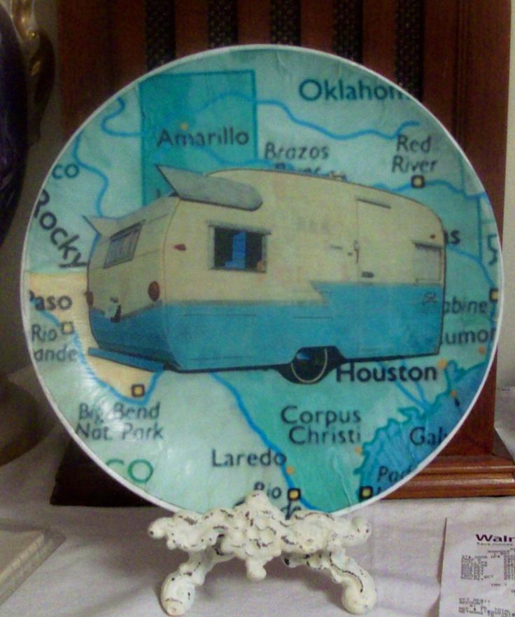 Wingin' Across Texas OOAK Plate Altered ArT Upcycled Vintage Plate. $20.00, via Etsy.
