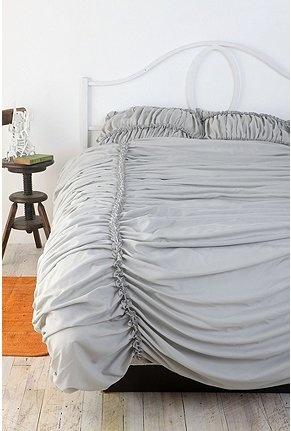 gray ruffled duvet cover