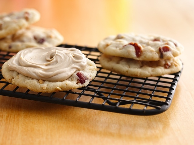 Peanut Butter-Bacon Cookies with Maple Frosting
