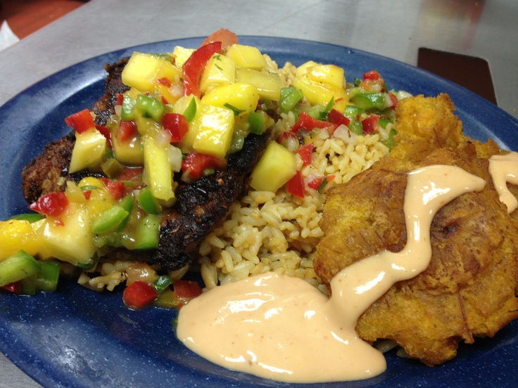 Jamaican Jerk Chicken Breast with Mango Salsa, over spicy rice and ...