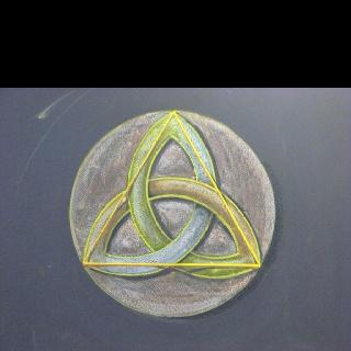 Triquetra chalk drawing by Dr. Rick Tan. Grade 6 Geometry Davis Waldorf School. www.thewaldorfway.blogspot.com www.syrendell.com