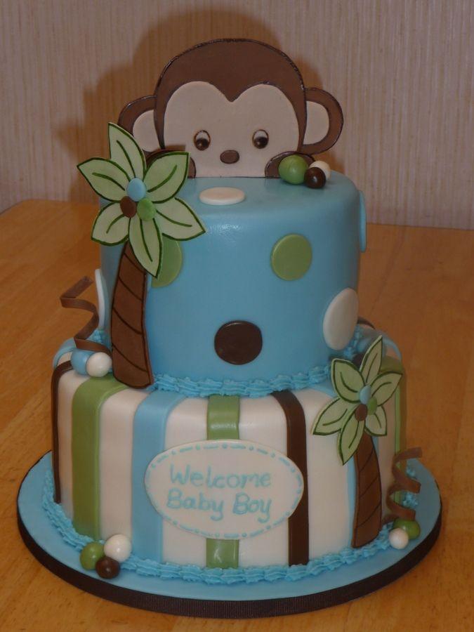 Baby shower monkey cake birthday cakes children pinterest - Monkey baby shower cakes for boys ...