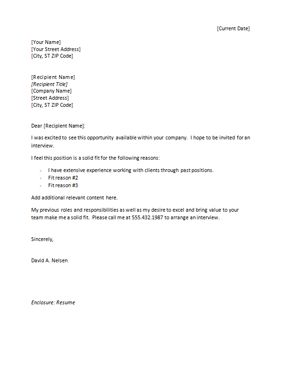 Free Sample Cover Letter For A Job Application