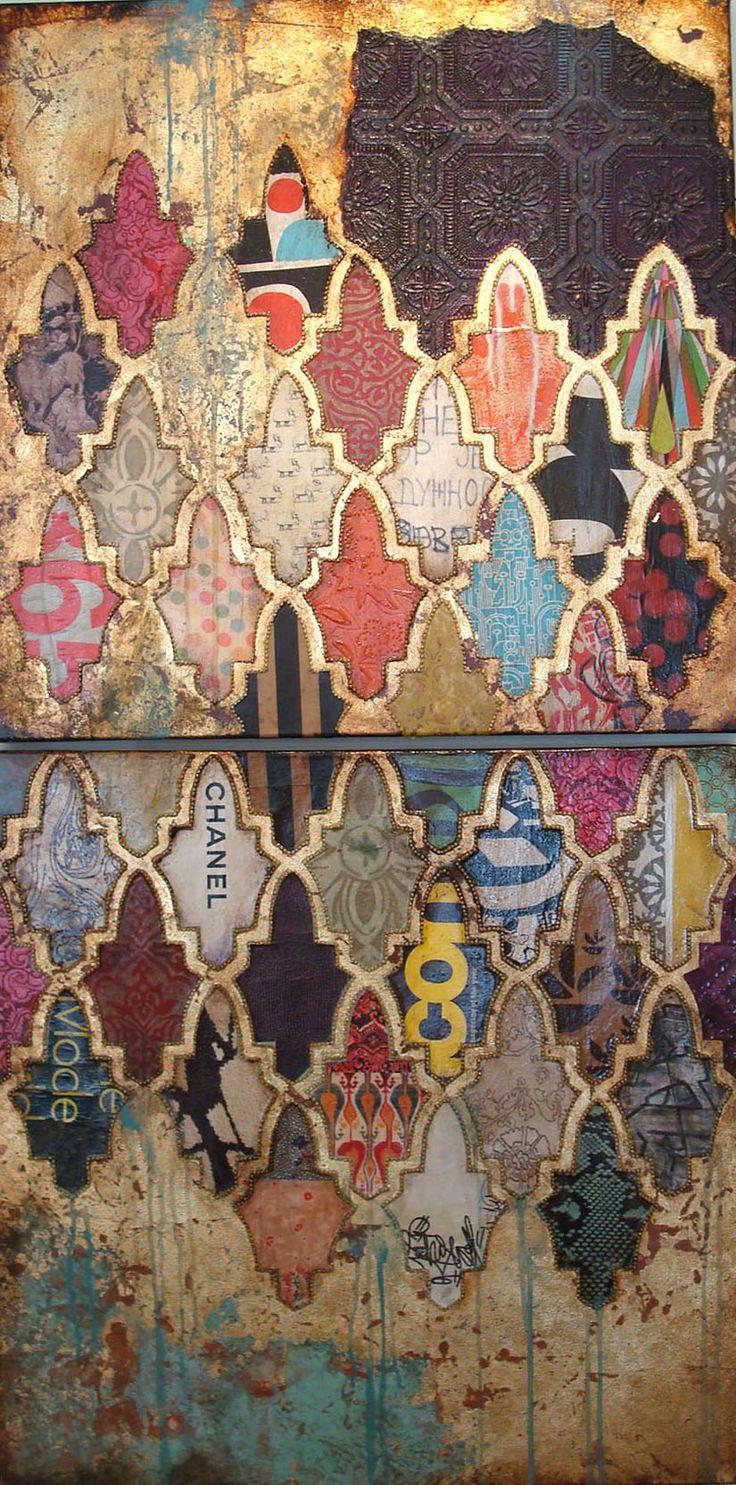 """Jill Ricci - """"Glam"""", mixed media on canvas"""