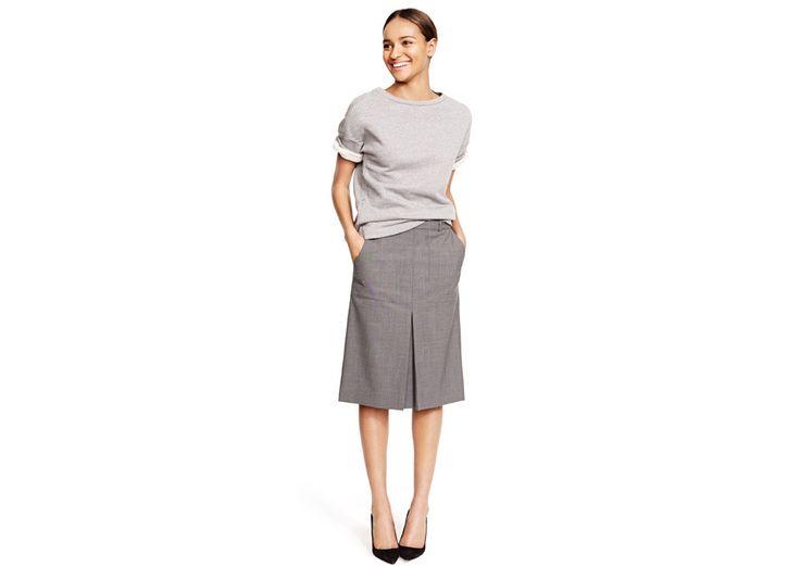 hi and lo: sweatshirt and wool skirt