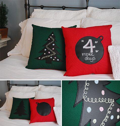 Chalkboard advent calendar countdown pillow {free #sewing pattern and tutorial} #christmas #adventcalendar