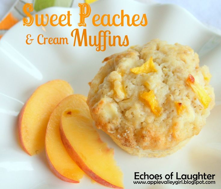 Echoes of Laughter: Lunchbox Treats: Sweet Peaches & Cream Muffins... #muffins #peaches